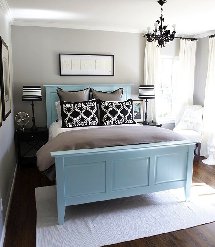 Just To Show Jon A Blue Bed Frame With Gray Wals Works