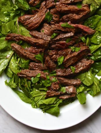 Mustard Marinated Flank Steak   Arugula Salad