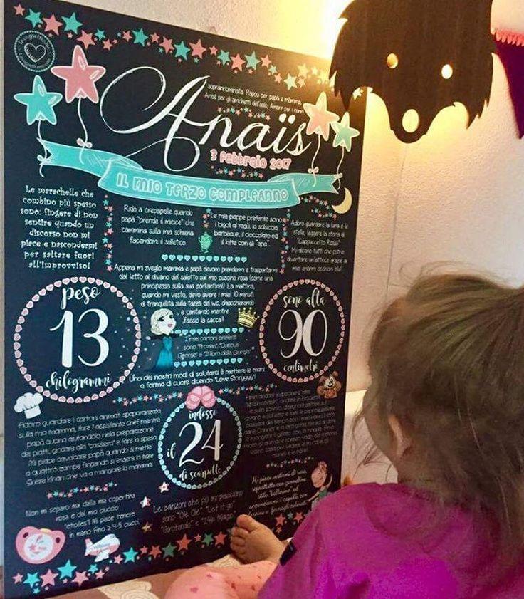"""""""Mi piace"""": 40, commenti: 3 - @lavagnettiamo su Instagram: """"Anaïs e la sua lavagnona personalizzata per il 3° compleanno! Grazie mamma Marie... è stato un…"""""""