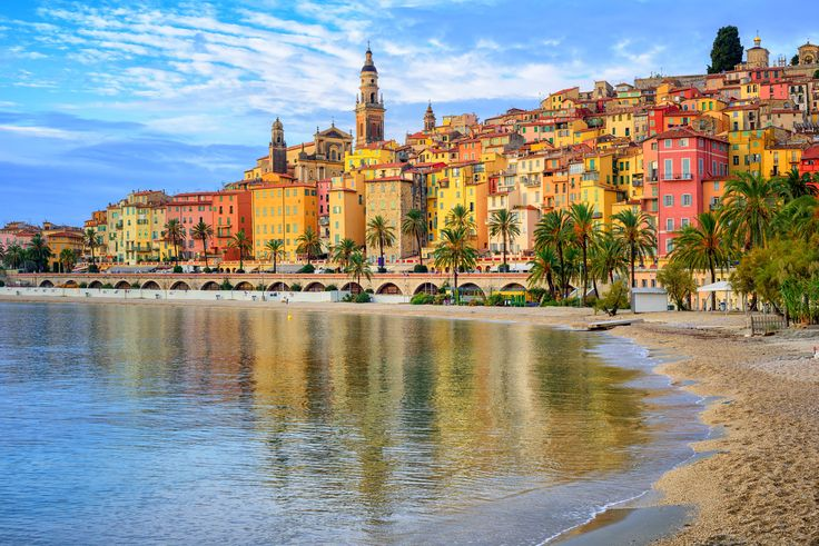 #Nice şehri #Fransa - #Akdeniz - Colorful medieval town #Menton on #Riviera, #Mediterranean sea, #France