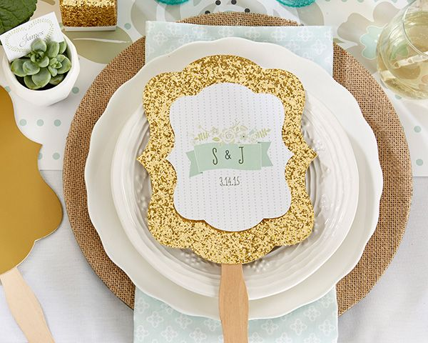 With the approaching of hot summer, hand fan becomes an indispensable part in our daily life. Personalized Gold Glitter Hand Fan - Kates Rustic Wedding Collection will be sure to become your close friend...
