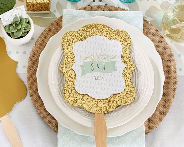 Personalized Gold Glitter Hand Fan - Rustic Wedding - Hand Fan Favors by Kate Aspen