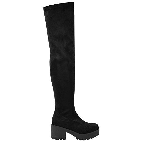 Damenstiefel schenkelhoch Overknee dicker Plateauabsatz Stretch Stiefel: Amazon.de: Schuhe & Handtaschen