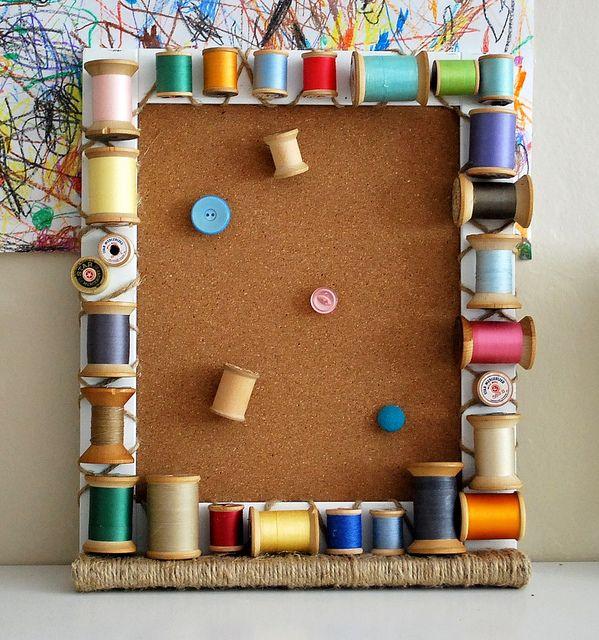 Vintage Wooden Spool Cork Board Frame by steph2pigs, via Flickr