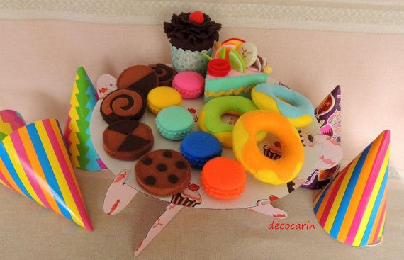 Felt Cake Set of 15 & Cake Stand Plateau Felt Food by decocarin