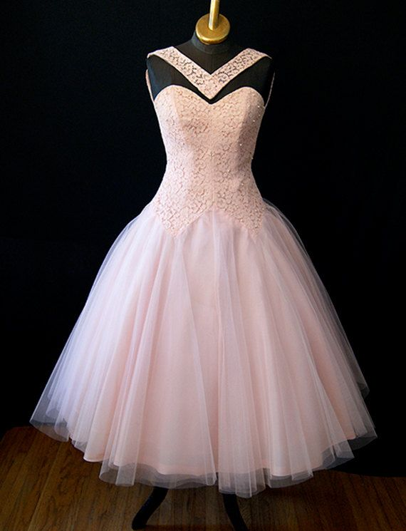 Stunning1950's Pink Tulle Lace vintage Party Prom