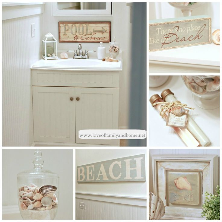 blue willow with shells, sand dollar and starfish What a cute idea :) Very  pretty beach bathroom decor :) Bathroom decor