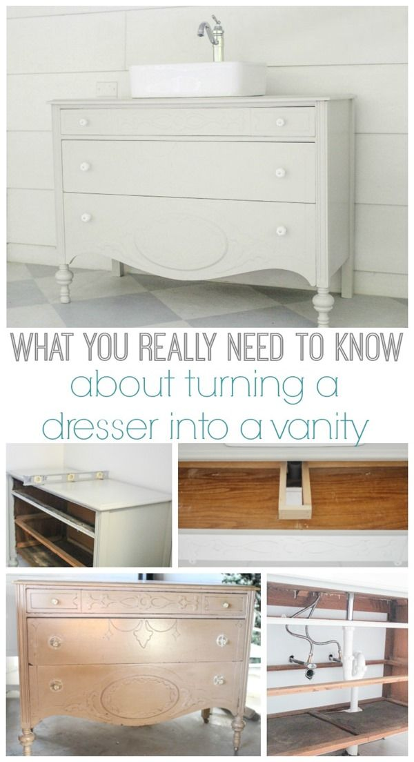How to make a dresser into a bathroom vanity  These are the details you  really. 17 Best ideas about Diy Bathroom Vanity on Pinterest   Open