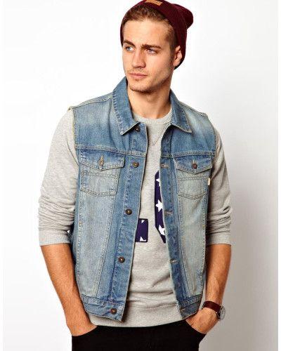 ASOS | Blue Sleeveless Denim Jacket for Men | Lyst