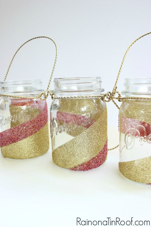 How to Glitter Mason Jars via http://RainonaTinRoof.com #glitter #crafts #masonjar #modpodge