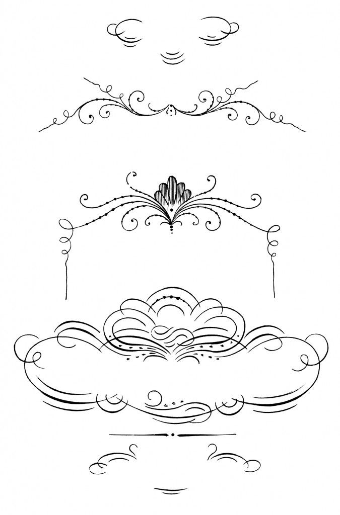 Calligraphy clip art ornaments decorative border