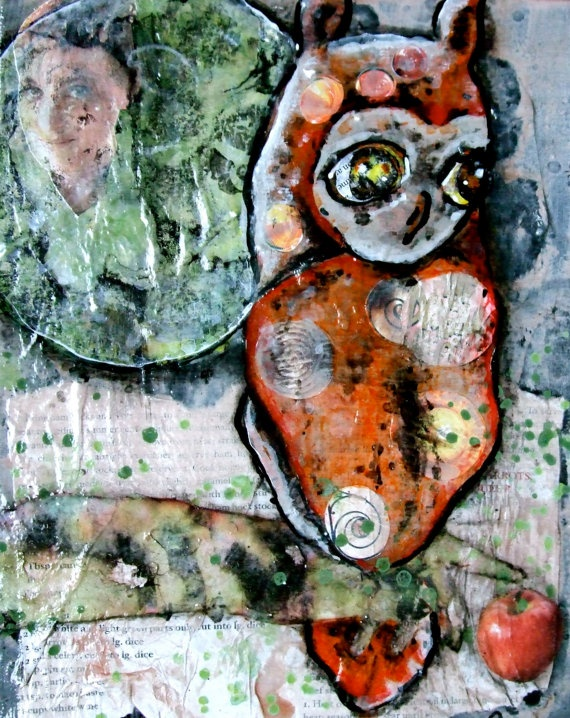 Painting on Etsy.Owls Moon