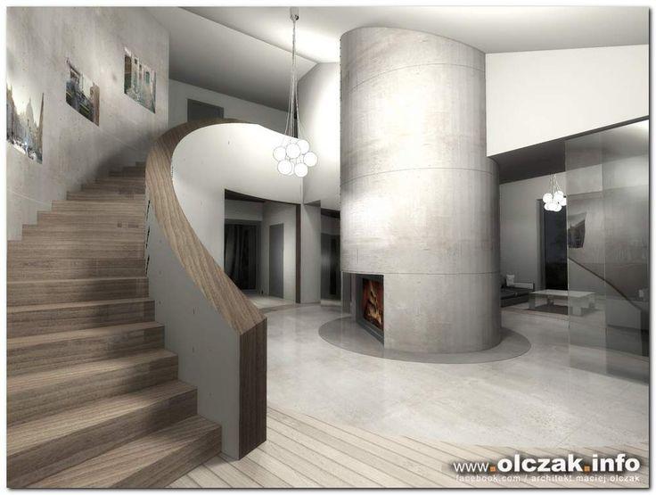Architekt Maciej Olczak - projekt z okrągłum kominkiem
