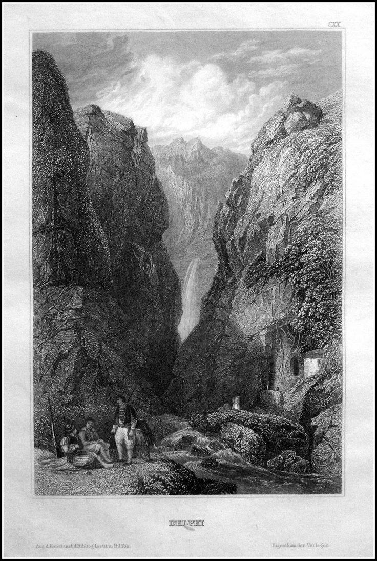 Greece - Delphi . Graphic         : Steel engraving From             : Pittoreskt Universum eller Taflor Year              :  1838 Size               : 17 x 12 cm Distr.             : Bibliografiska Institutets Stockholm