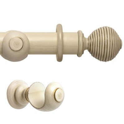 Poles up to 600cm long with only 2 end brackets and 1 central bracket! This Antique Cream coloured wooden pole set with solid wood Ribbed Ball finials is made in the UK and is suitable for town and country houses alike.  The antique 'wash' is hand-brushed over a cream base colour, before a wax finish is finally applied. Suitable for heavy weight curtains, except where stated Suitable for straight runs Finial lengths: when supplied with 45mm diameter pole sets: 95mm when supplied with ...