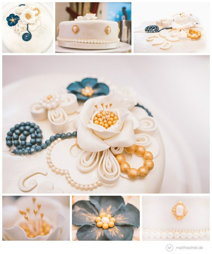wedding cake inspiration floral lovely delicious in blue, gold & white