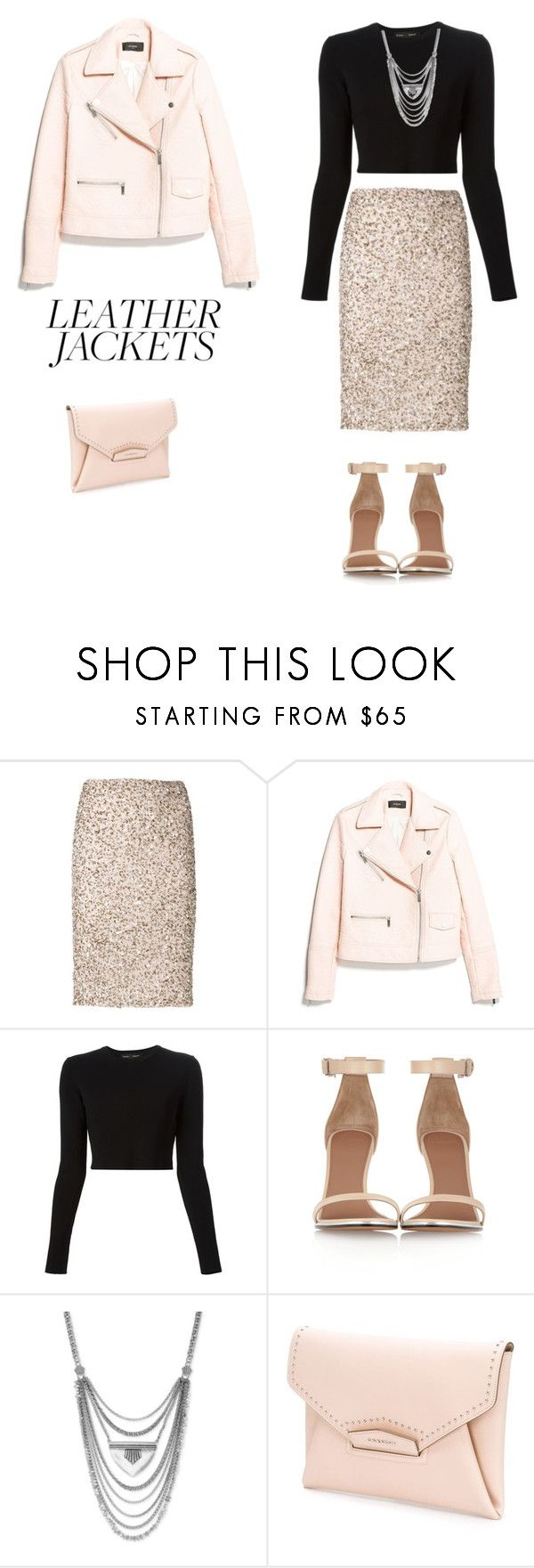 """""""Cool girl style: Leather Jackets"""" by sebolita ❤ liked on Polyvore featuring Alice + Olivia, MANGO, Proenza Schouler, Givenchy and Lucky Brand"""