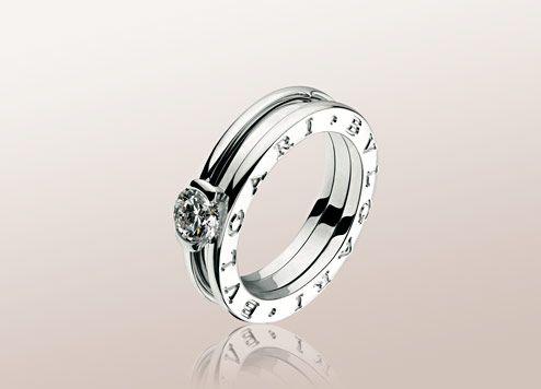 bulgari bzero1 solitaire ring in 18kt white gold with round brilliant cut diamond