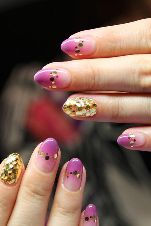 Ombre Gold Glitter Nails ✧