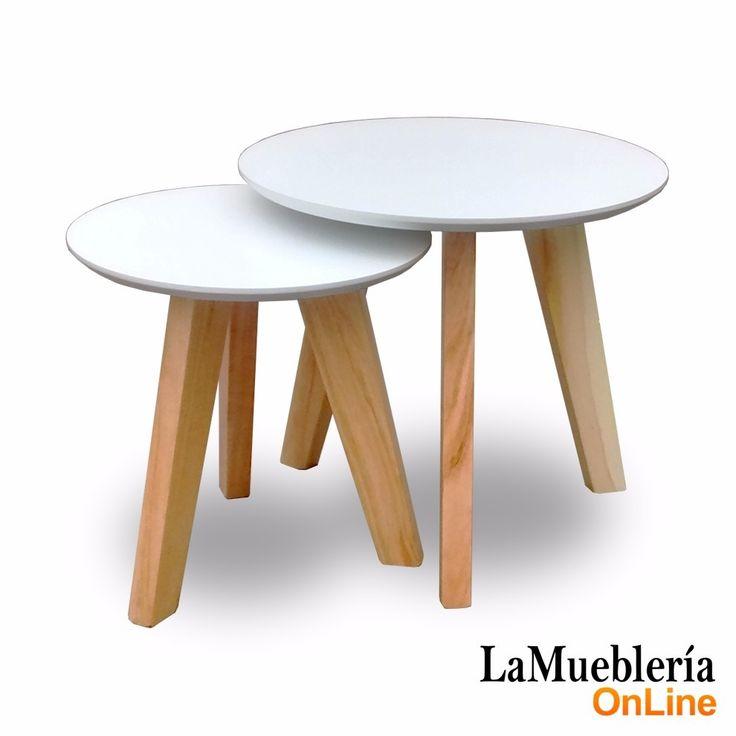 juego de 2 mesas ratonas redondas madera lustradas nordica