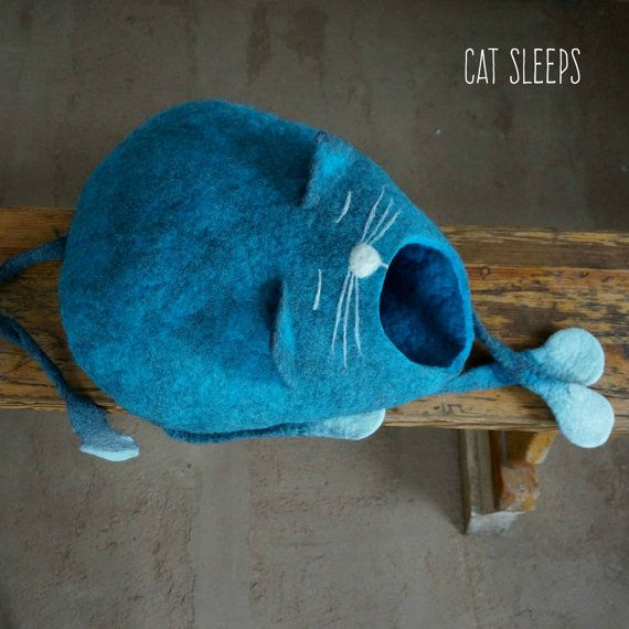 100 % wool and handmade felt cat cave. We made cat cave from soft merino wool. Felting pet house we used only soap and water. In this cat house pet