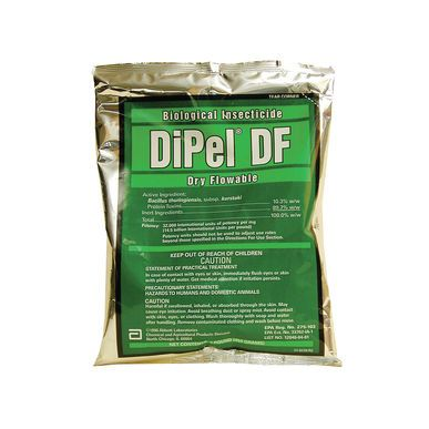 DiPel® DF - 1 Lb $27 @ Johnny Seeds - Biological Insecticide - Approved for organic production - specific to leaf-eating caterpillars - does not harm beneficial insects. Not harmful to animals or humans. Used for tomato hornworms, cabbage lopper and others... Contains the bacteria strain: Bacillus thuringinesis *Hornworms glow in the dark!
