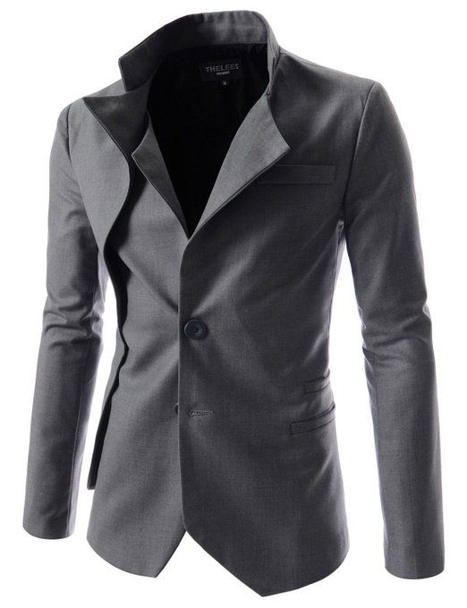 TheLees Mens unbalance 2 button china collar jacket at Amazon Men's Clothing store: Blazers And Sports Jackets