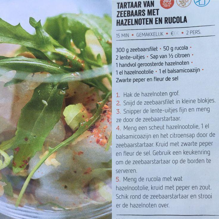 Tartaar van zeebaars met hazelnoten en rucola
