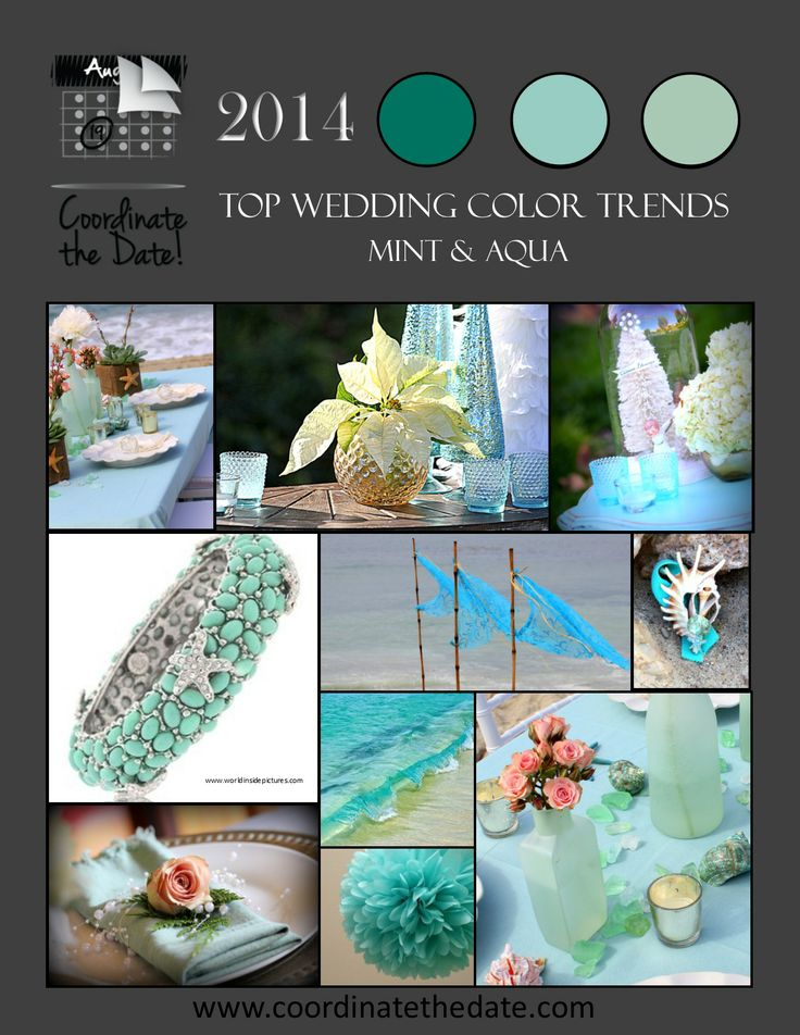 Top #Wedding and #Event #ColorTrends for #2014, #Mint and #Aqua.  See our website to choose your color!