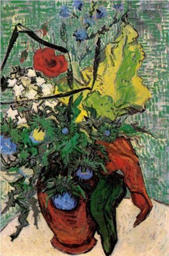 AUVERS-SUR-OISE juni 1890 / vaas met veldbloemen en distels / Wild Flowers and Thistles in a Vase. Vincent van Gogh.  1890. Place of creation Auvers-sur-oise. France.  Post-Impressionism. Oil on canvas.   67 x 47cm.