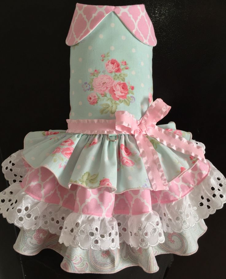 A personal favorite from my Etsy shop https://www.etsy.com/listing/465927343/pink-lace-dog-harness-dress-for-small