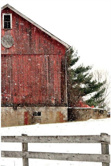 gentle snow falling outside barn