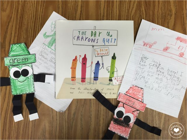 """Writing friendly letters in first grade using a hilarious picture book """"The Day the Crayons Quit""""."""