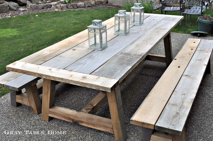 Restoration Hardware Inspired Table and Bench Set 5