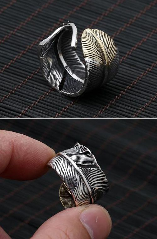 Best 25 man ring ideas on pinterest men rings mens fashion mens sterling silver two tone feather wrap ring publicscrutiny Image collections