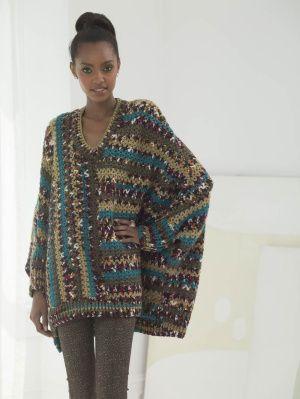 Crochet Poncho suéter. Patrón ganchillo gratuito   -   Crochet Poncho Pullover By Vladimir Teriokhin. Free Crochet Pattern. (joann.lionbrand)