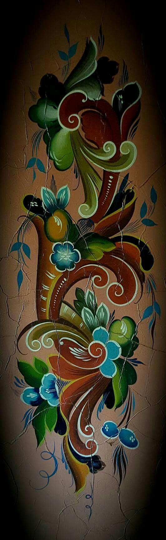 Tattoos arabesque tattoos arabeske tattoos arabesk tattoos - John H Tj Nn 1931 Norwegian Artrosemaling Patternnorwegian Rosemalingkalocsaiscandinavian Kitchentole Paintingtattoo