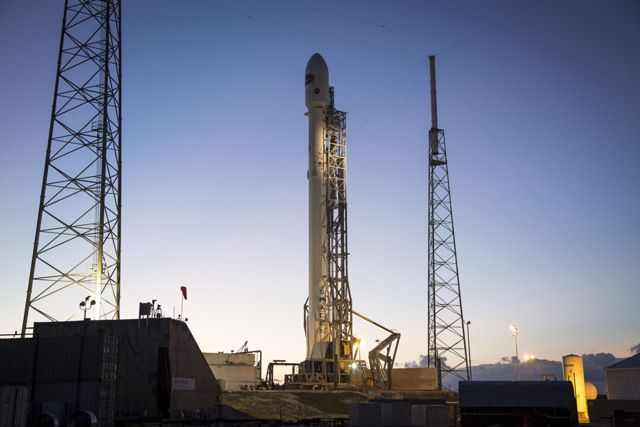 SpaceX's Falcon 9 rocket and the DSCOVR space-weather satellite on the launch pad at Florida's Cape Canaveral Air Force Station. Launch is scheduled for the evening of Feb. 11, 2015.