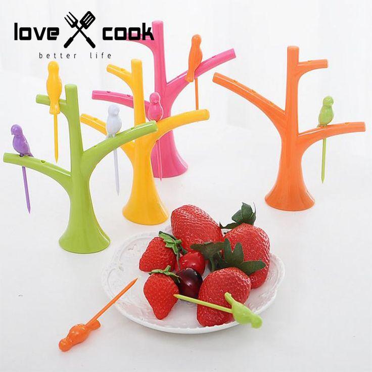 Творческий Корейской моды Разноцветные Птицы пластиковые плоды вилкой фрукты bracket' форма верхушки деревьев плоды вилкой посуда 2 шт./лот