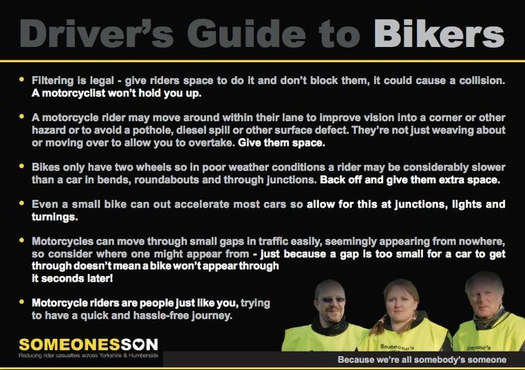 The car drivers guide to bikers.......