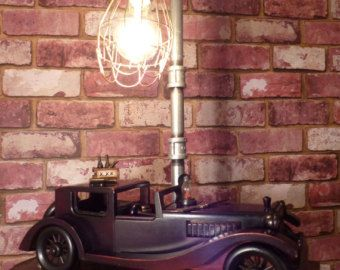 "VINTAGE ROADSTER - ""PROHIBITION"" ~  Very cool Vintage Roadster Lamp. Vintage Wooden Model Roadster, parked under the streetlight loading up the ""HOOCH"", to take on the next booze run."