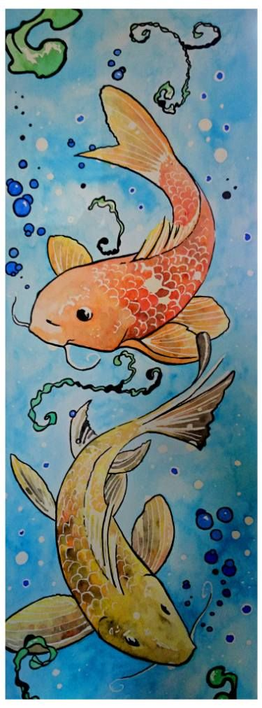 Buy Koi fish and bubbles, an Ink Painting on Paper, by Rebecca Sutton from , For sale, Price is $135, Size is 20 x 7 x 0.1 in.