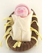 Sunday School Baby Jesus Manger no sew Sock Bible Craft