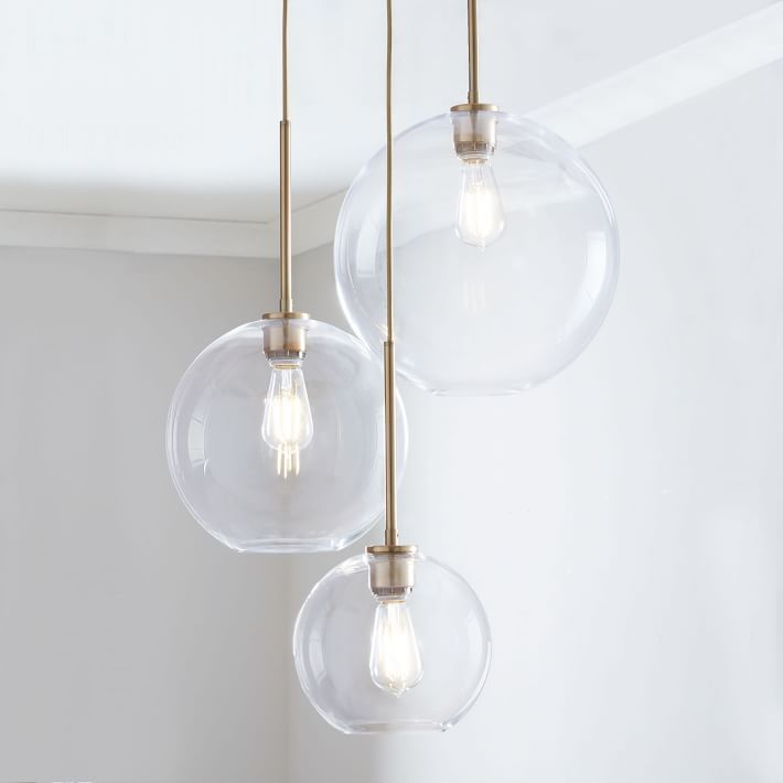 Sculptural Gl 3 Light Round Globe Chandelier S M L Clear Shade Br Canopy