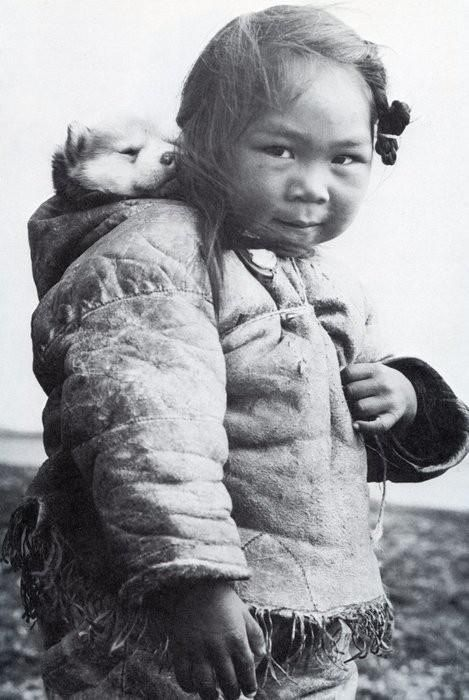 .  An Inuk girl with her husky puppy in the hood of her amatiuq circa 1920. Mothers would also carry their infants in the same manner. This little girl is playing mommy and baby with her puppy.  and the cutest thing ever award goes to…