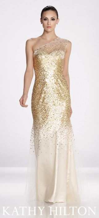 White and Gold Wedding. Bridesmaid Dress. Gold gown - Kathy Hilton, H24047