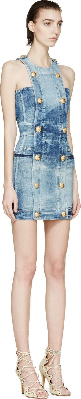 Balmain: Blue Acid Wash Buttoned Dress | SSENSE