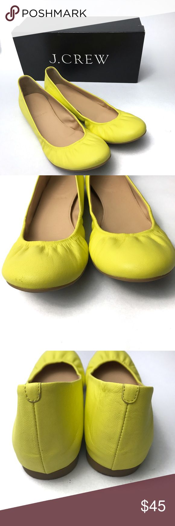 J. Crew CeCe Ballet Flats Dazzling Sun 7.5 The color description for these ballet flats is so apt. They are a bright, dazzling yellow! They were worn once and are in excellent condition. The only flaw I could find was a slight scuff mark on the toe of the right shoe. See second pic. J. Crew Shoes Flats & Loafers