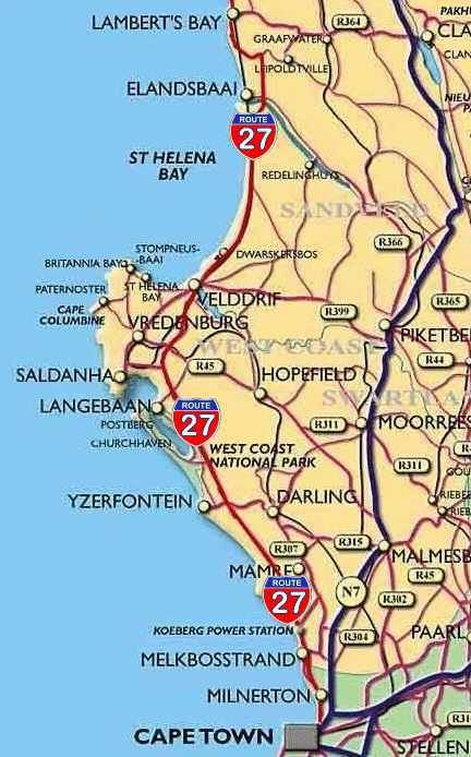 West Coast Map Route 27