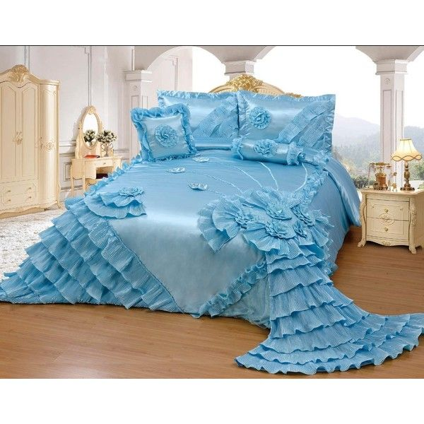 Amazon.com: Octorose Royalty Oversize Wedding Bedding Bedspread Quilts... ($150) ❤ liked on Polyvore featuring home, bed & bath, bedding, quilts, cal king quilt set, california king bedding, blue quilt set, oversized king bedding and blue bedding